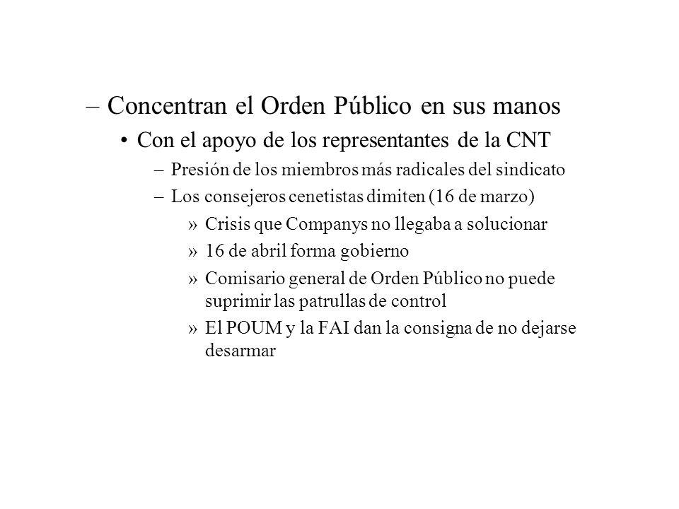 –Concentran el Orden Público en sus manos Con el apoyo de los representantes de la CNT –Presión de los miembros más radicales del sindicato –Los conse