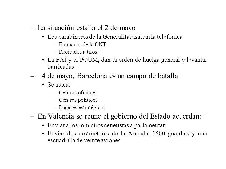 –5 de mayo se llega a un acuerdo de formar un gobierno catalán restringido Se rompe por la muerte del secretario general de la U.G.T., y del anarquista Camilo Berneri –Se vuelven a lanzar mensajes conciliatorios desde los órganos de dirección de los partidos Desatendidos –6 de mayo, el comité regional de la C.N.T.