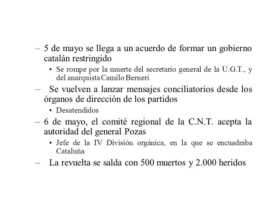 –5 de mayo se llega a un acuerdo de formar un gobierno catalán restringido Se rompe por la muerte del secretario general de la U.G.T., y del anarquist