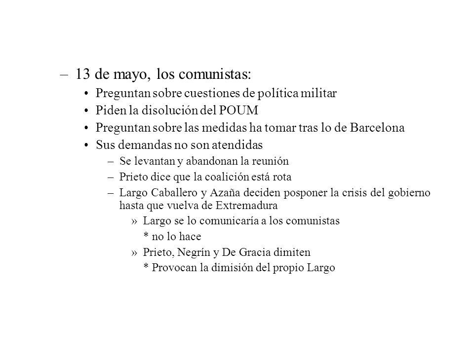 –13 de mayo, los comunistas: Preguntan sobre cuestiones de política militar Piden la disolución del POUM Preguntan sobre las medidas ha tomar tras lo