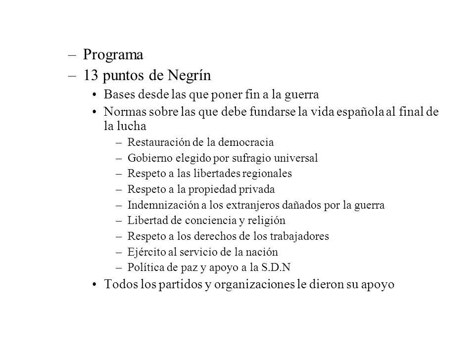 –Programa –13 puntos de Negrín Bases desde las que poner fin a la guerra Normas sobre las que debe fundarse la vida española al final de la lucha –Res