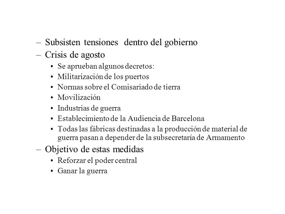 –La CNT se opone –Último decreto desata una operación contra el gobierno de Negrín –El 11 de agosto hubo dos dimisiones dentro del gobierno: Aiguader (E.R.C.), e Irujo (P.N.V.) – La crisis la resuelve Negrín nombrando a nuevos ministros del PSUC, y de ANV, superando una nueva crisis –1 de octubre las Cortes se reunieron en Sant Cugat del Vallés, donde el gobierno recibió un voto de confianza –Mo hay homogeneización en el poder político –Tampoco en el ámbito autonómico en el gobierno catalán