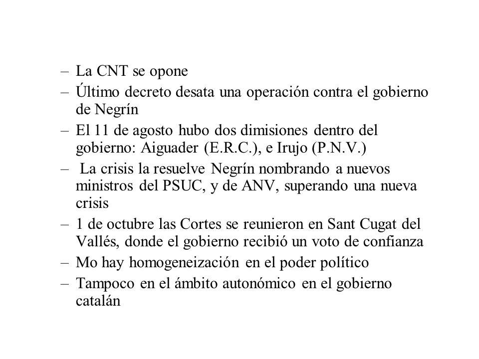 –La CNT se opone –Último decreto desata una operación contra el gobierno de Negrín –El 11 de agosto hubo dos dimisiones dentro del gobierno: Aiguader