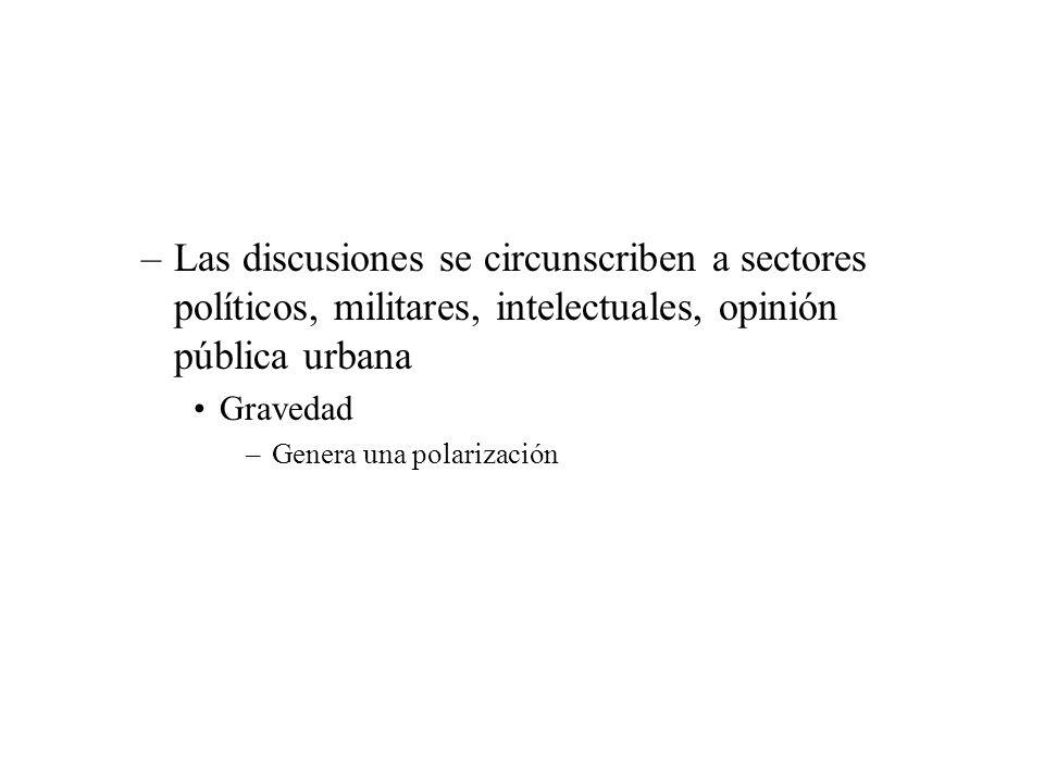 –Las discusiones se circunscriben a sectores políticos, militares, intelectuales, opinión pública urbana Gravedad –Genera una polarización