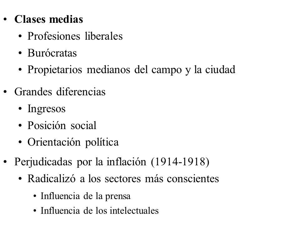 Clases medias Profesiones liberales Burócratas Propietarios medianos del campo y la ciudad Grandes diferencias Ingresos Posición social Orientación po