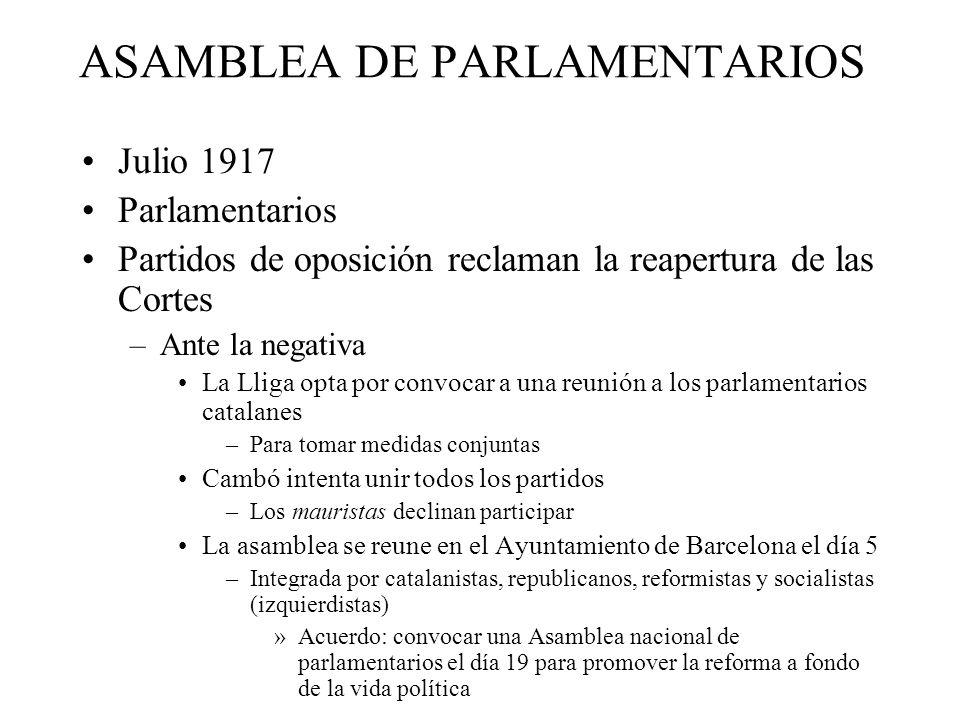 ASAMBLEA DE PARLAMENTARIOS Julio 1917 Parlamentarios Partidos de oposición reclaman la reapertura de las Cortes –Ante la negativa La Lliga opta por co