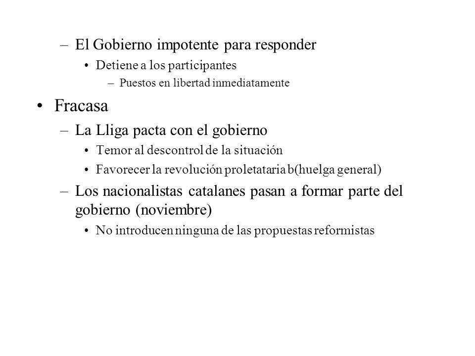 –El Gobierno impotente para responder Detiene a los participantes –Puestos en libertad inmediatamente Fracasa –La Lliga pacta con el gobierno Temor al