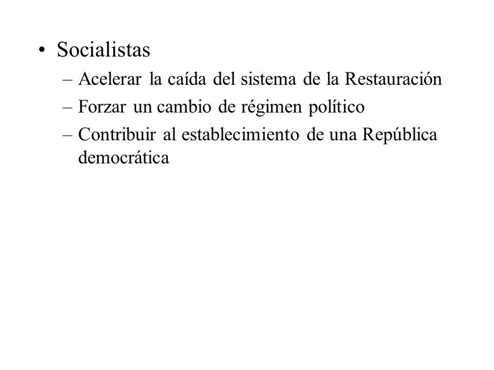 Socialistas –Acelerar la caída del sistema de la Restauración –Forzar un cambio de régimen político –Contribuir al establecimiento de una República de
