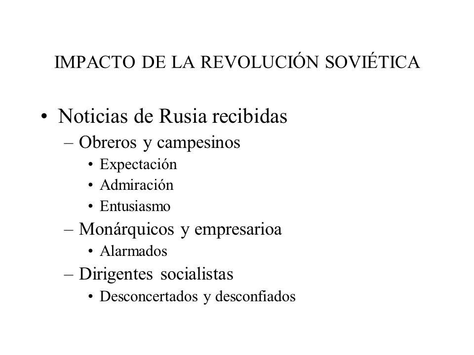 IMPACTO DE LA REVOLUCIÓN SOVIÉTICA Noticias de Rusia recibidas –Obreros y campesinos Expectación Admiración Entusiasmo –Monárquicos y empresarioa Alar