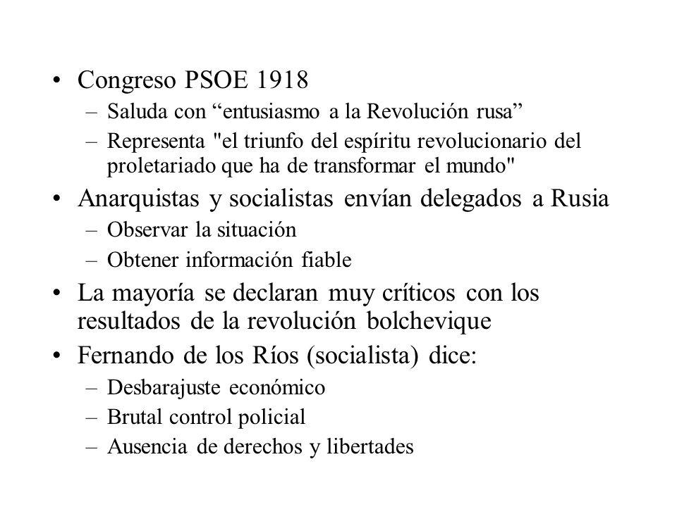 Congreso PSOE 1918 –Saluda con entusiasmo a la Revolución rusa –Representa