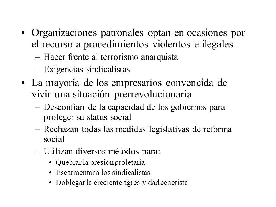 Organizaciones patronales optan en ocasiones por el recurso a procedimientos violentos e ilegales –Hacer frente al terrorismo anarquista –Exigencias s