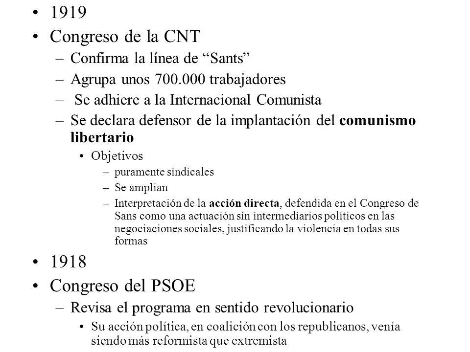 1919 Congreso de la CNT –Confirma la línea de Sants –Agrupa unos 700.000 trabajadores – Se adhiere a la Internacional Comunista –Se declara defensor d