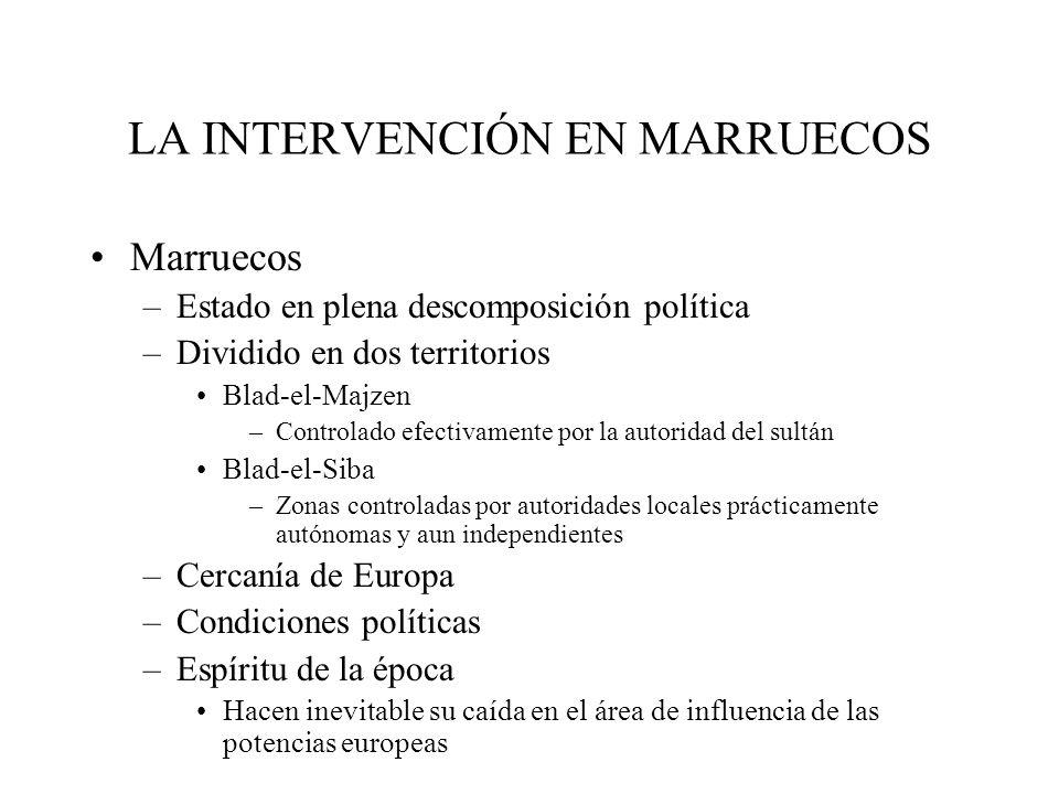 LA INTERVENCIÓN EN MARRUECOS Marruecos –Estado en plena descomposición política –Dividido en dos territorios Blad-el-Majzen –Controlado efectivamente
