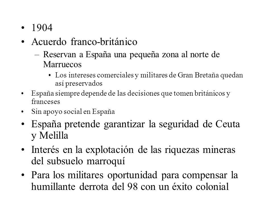 1904 Acuerdo franco-británico –Reservan a España una pequeña zona al norte de Marruecos Los intereses comerciales y militares de Gran Bretaña quedan a