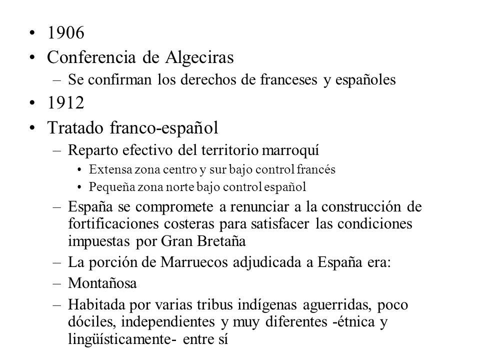 1906 Conferencia de Algeciras –Se confirman los derechos de franceses y españoles 1912 Tratado franco-español –Reparto efectivo del territorio marroqu