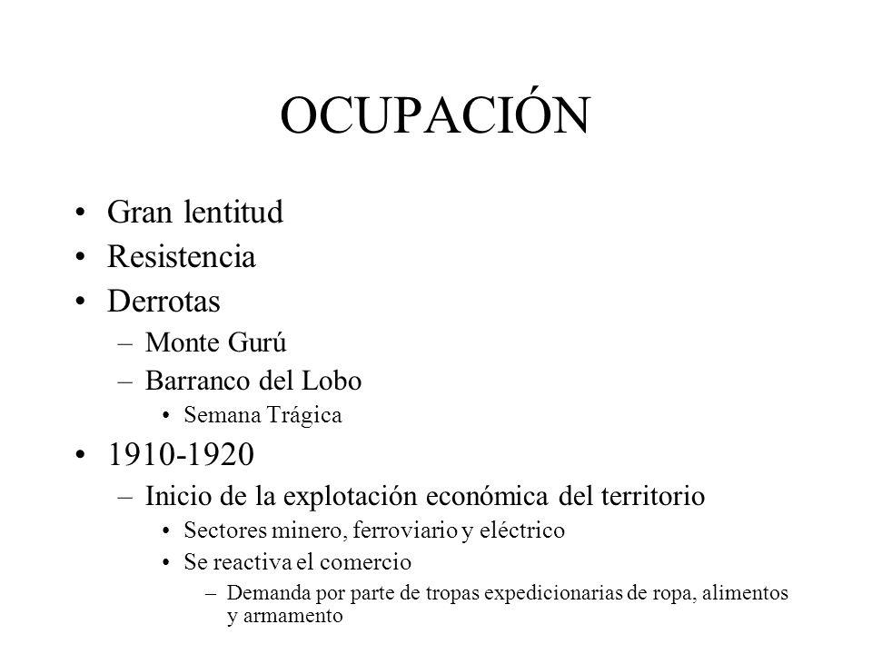 OCUPACIÓN Gran lentitud Resistencia Derrotas –Monte Gurú –Barranco del Lobo Semana Trágica 1910-1920 –Inicio de la explotación económica del territori