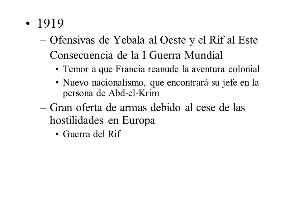 1919 –Ofensivas de Yebala al Oeste y el Rif al Este –Consecuencia de la I Guerra Mundial Temor a que Francia reanude la aventura colonial Nuevo nacion