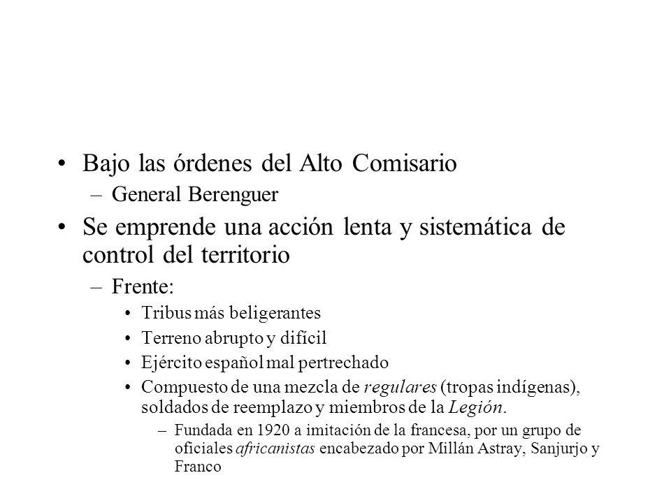 Bajo las órdenes del Alto Comisario –General Berenguer Se emprende una acción lenta y sistemática de control del territorio –Frente: Tribus más belige
