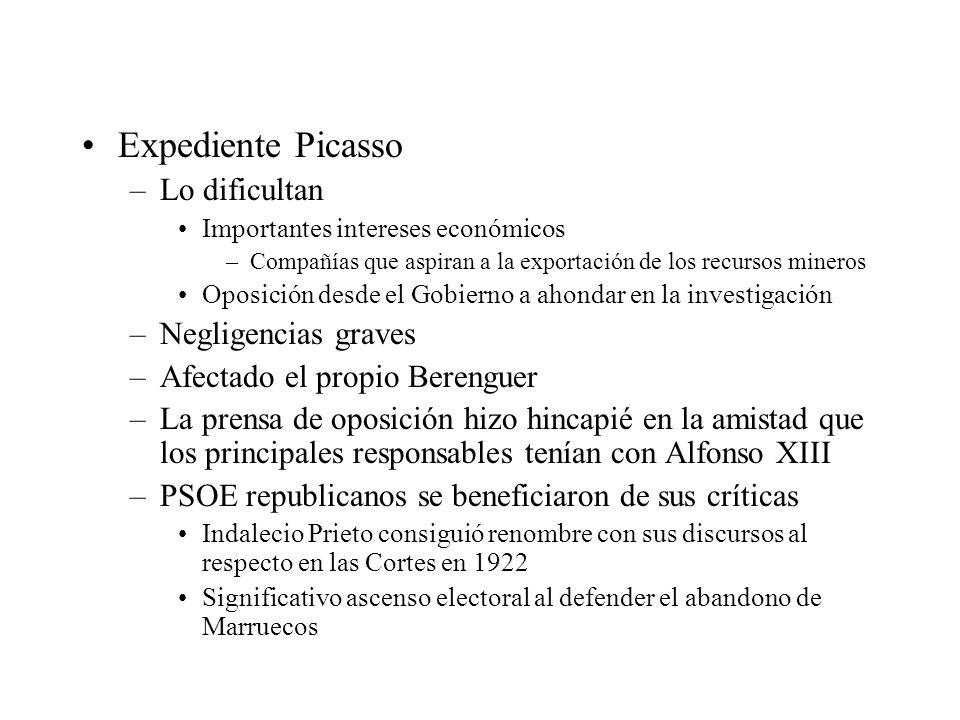 Expediente Picasso –Lo dificultan Importantes intereses económicos –Compañías que aspiran a la exportación de los recursos mineros Oposición desde el