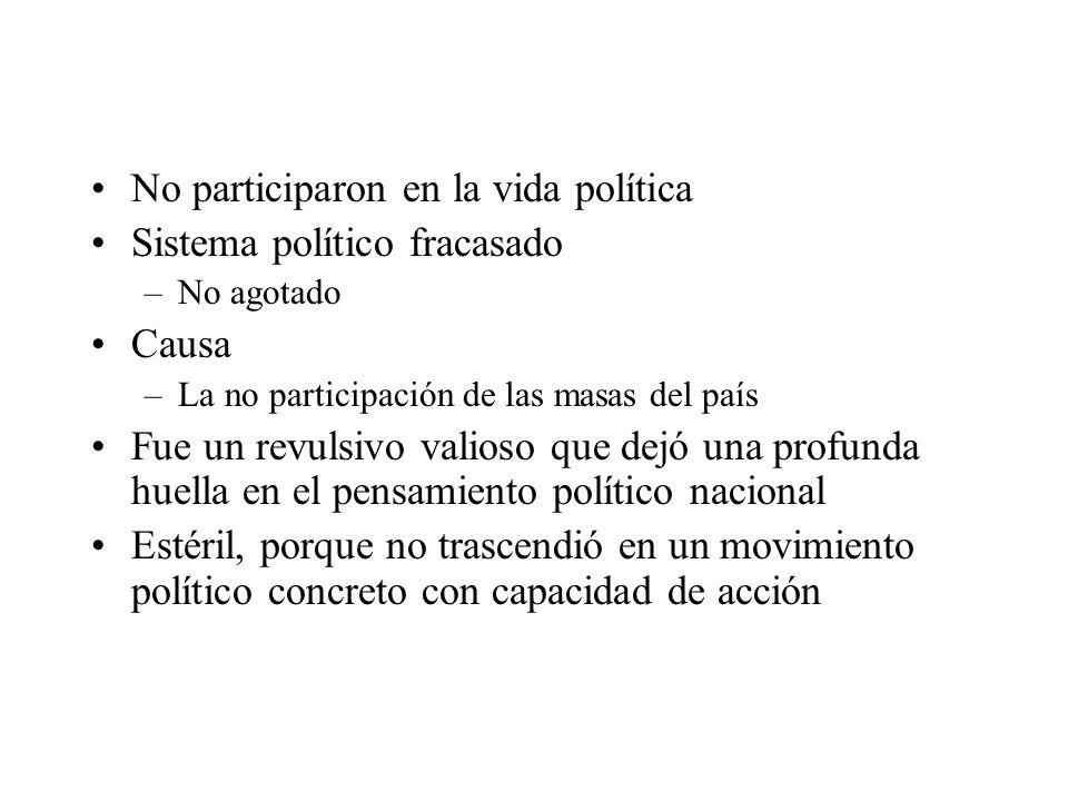 No participaron en la vida política Sistema político fracasado –No agotado Causa –La no participación de las masas del país Fue un revulsivo valioso q