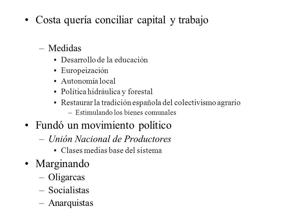 Costa quería conciliar capital y trabajo –Medidas Desarrollo de la educación Europeización Autonomía local Política hidráulica y forestal Restaurar la