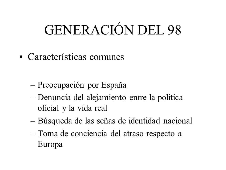 GENERACIÓN DEL 98 Características comunes –Preocupación por España –Denuncia del alejamiento entre la política oficial y la vida real –Búsqueda de las