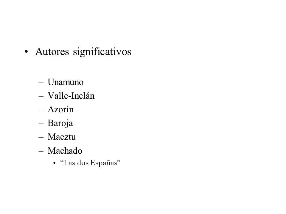 Autores significativos –Unamuno –Valle-Inclán –Azorín –Baroja –Maeztu –Machado Las dos Españas