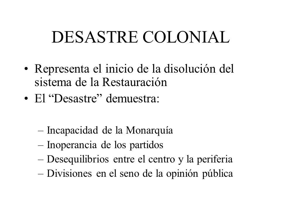 DESASTRE COLONIAL Representa el inicio de la disolución del sistema de la Restauración El Desastre demuestra: –Incapacidad de la Monarquía –Inoperanci
