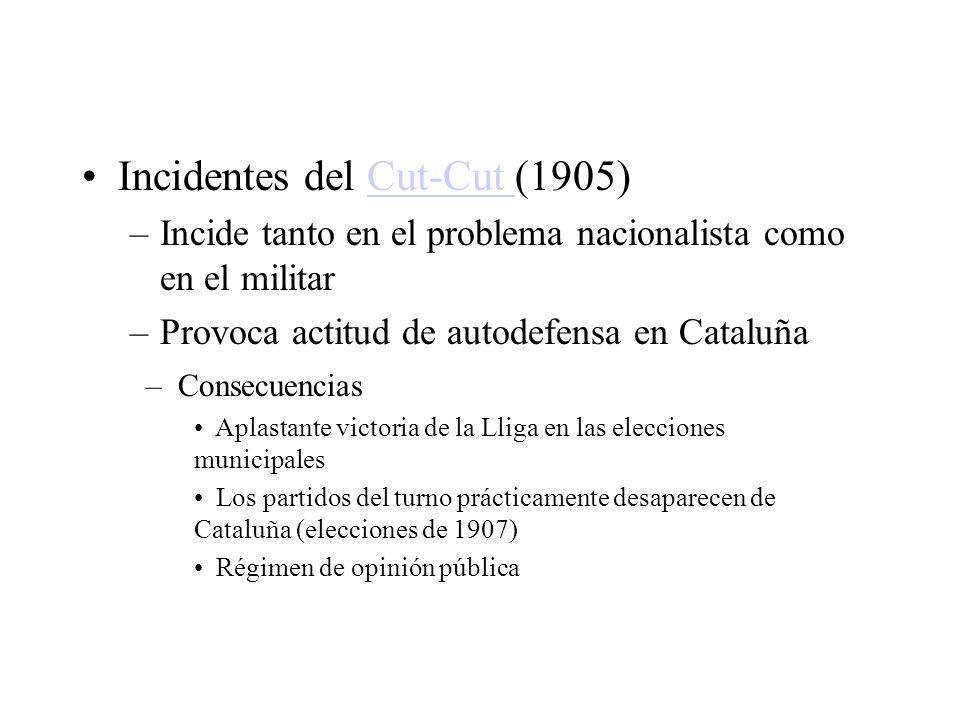Incidentes del Cut-Cut (1905)Cut-Cut –Incide tanto en el problema nacionalista como en el militar –Provoca actitud de autodefensa en Cataluña – Consec