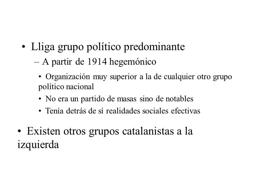 Lliga grupo político predominante –A partir de 1914 hegemónico Organización muy superior a la de cualquier otro grupo político nacional No era un part