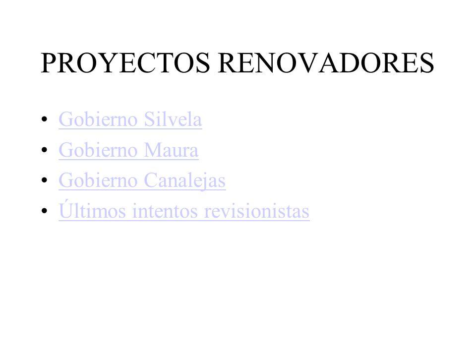 PROYECTOS RENOVADORES Gobierno Silvela Gobierno Maura Gobierno Canalejas Últimos intentos revisionistas