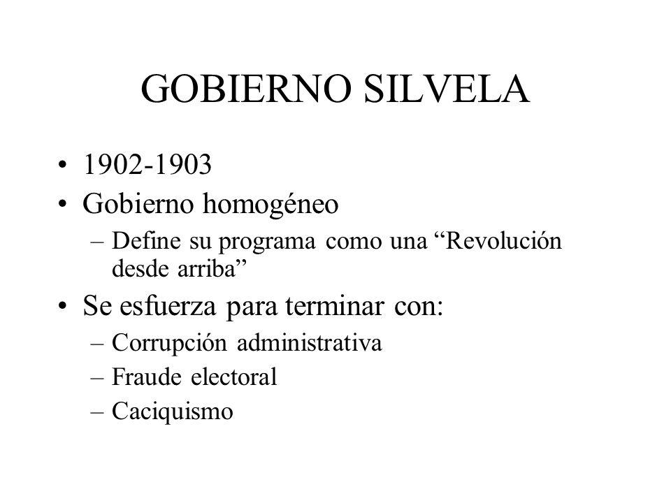 GOBIERNO SILVELA 1902-1903 Gobierno homogéneo –Define su programa como una Revolución desde arriba Se esfuerza para terminar con: –Corrupción administ
