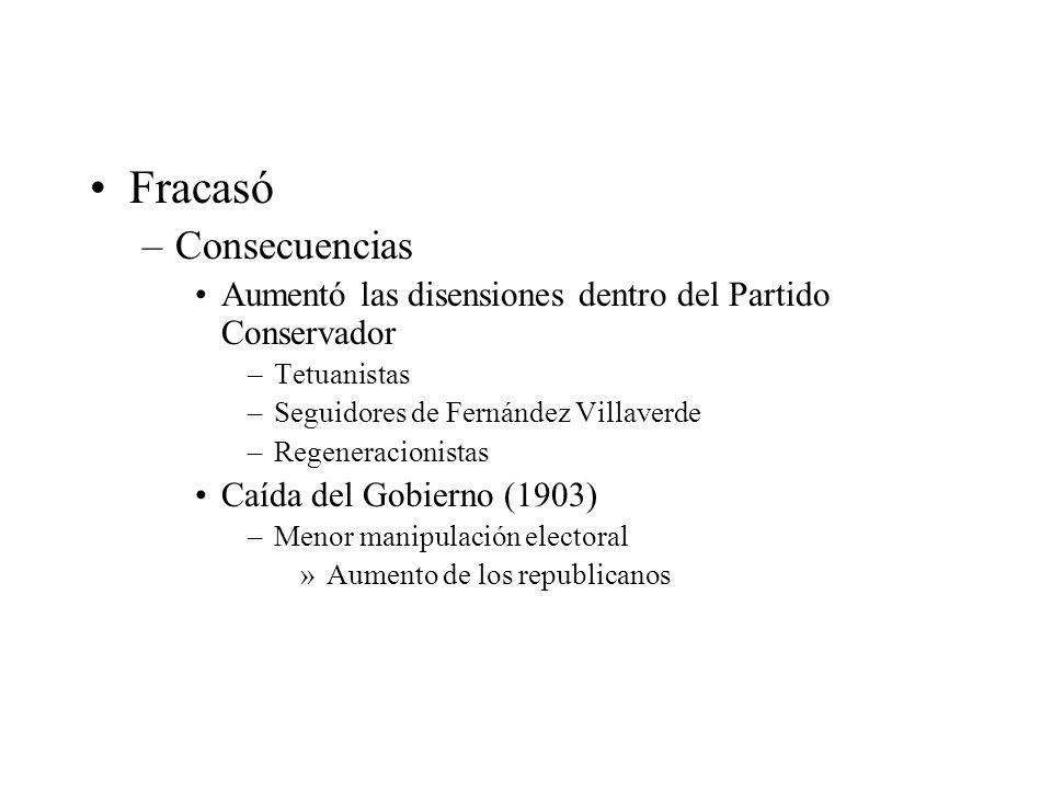 Fracasó –Consecuencias Aumentó las disensiones dentro del Partido Conservador –Tetuanistas –Seguidores de Fernández Villaverde –Regeneracionistas Caíd