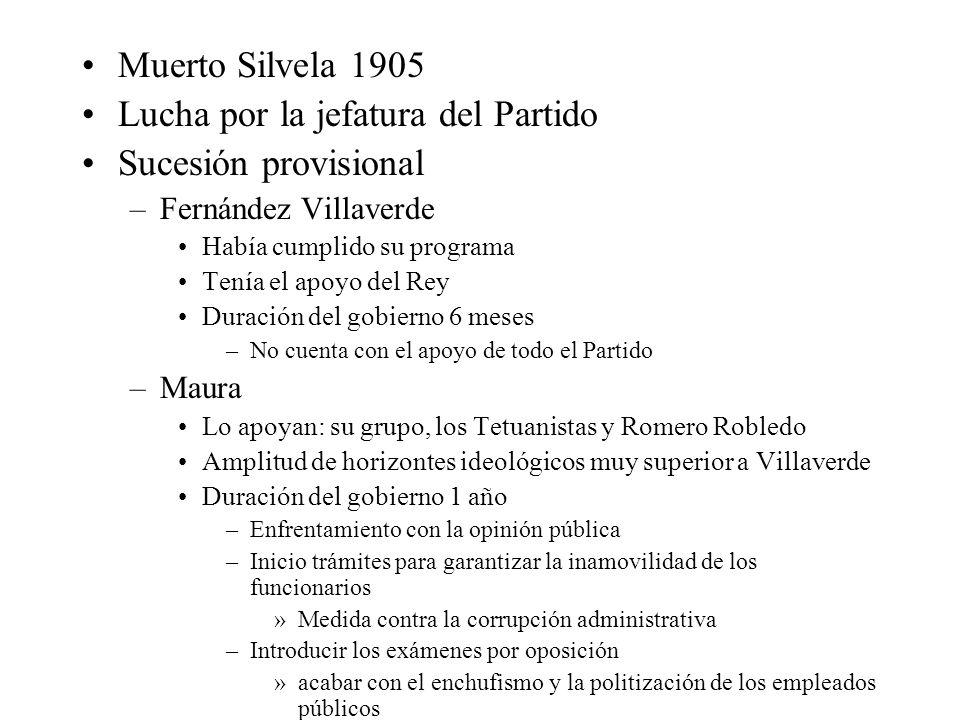 Muerto Silvela 1905 Lucha por la jefatura del Partido Sucesión provisional –Fernández Villaverde Había cumplido su programa Tenía el apoyo del Rey Dur