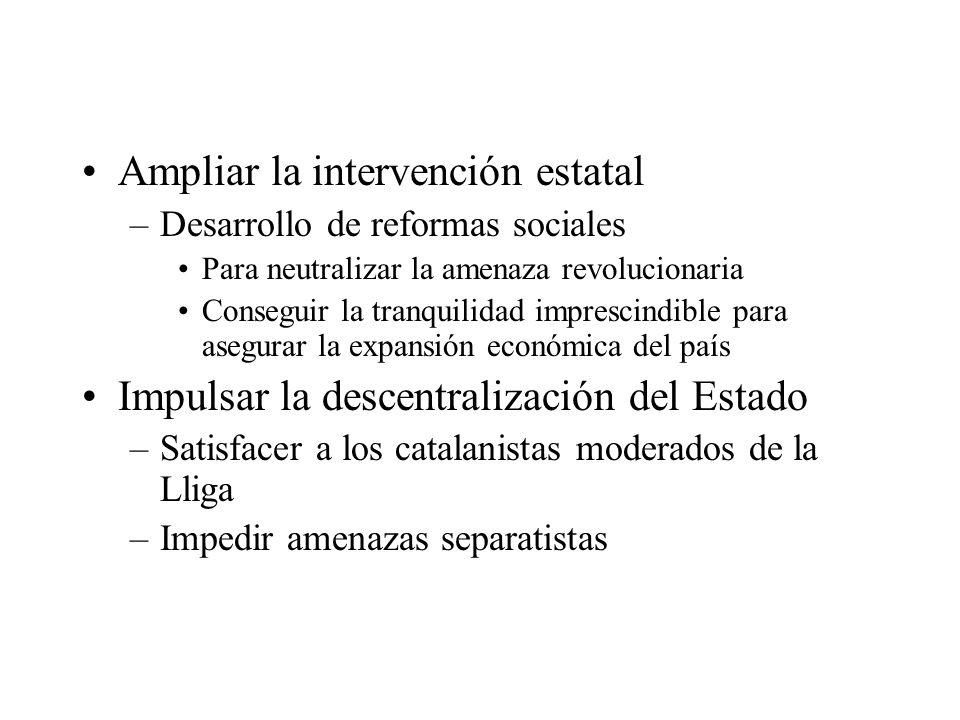 Ampliar la intervención estatal –Desarrollo de reformas sociales Para neutralizar la amenaza revolucionaria Conseguir la tranquilidad imprescindible p