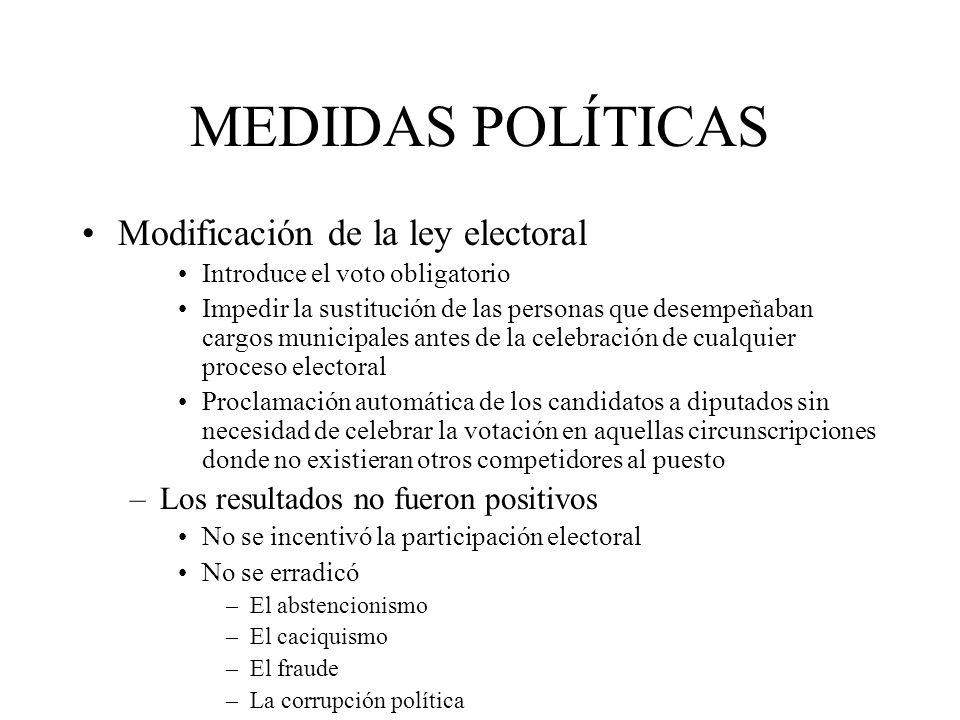 MEDIDAS POLÍTICAS Modificación de la ley electoral Introduce el voto obligatorio Impedir la sustitución de las personas que desempeñaban cargos munici