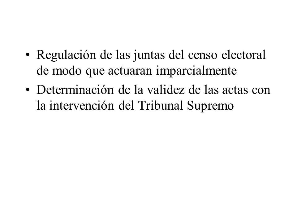 Regulación de las juntas del censo electoral de modo que actuaran imparcialmente Determinación de la validez de las actas con la intervención del Trib