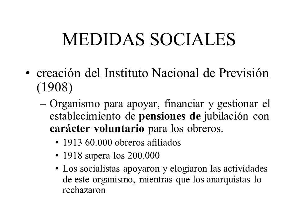MEDIDAS SOCIALES creación del Instituto Nacional de Previsión (1908) –Organismo para apoyar, financiar y gestionar el establecimiento de pensiones de