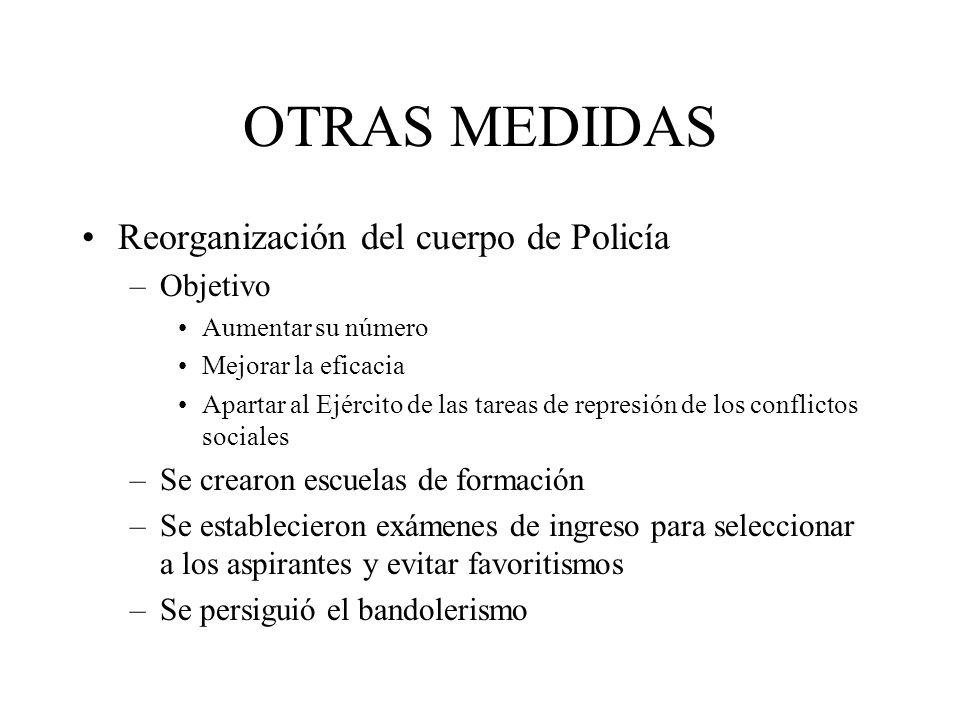 OTRAS MEDIDAS Reorganización del cuerpo de Policía –Objetivo Aumentar su número Mejorar la eficacia Apartar al Ejército de las tareas de represión de