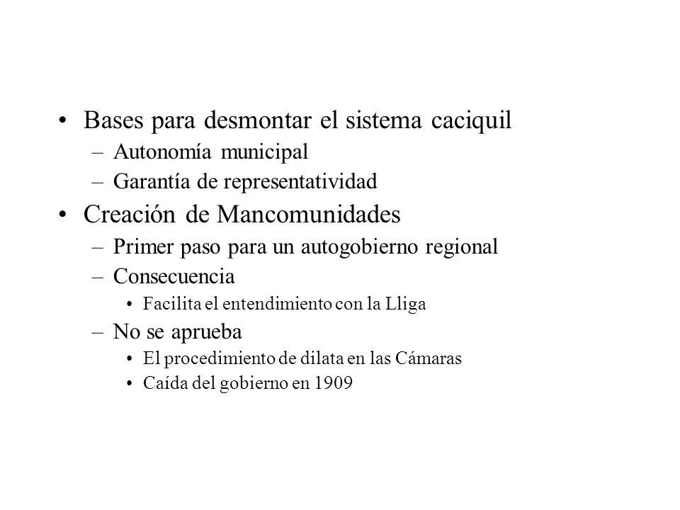 Bases para desmontar el sistema caciquil –Autonomía municipal –Garantía de representatividad Creación de Mancomunidades –Primer paso para un autogobie