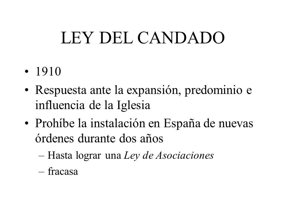 LEY DEL CANDADO 1910 Respuesta ante la expansión, predominio e influencia de la Iglesia Prohíbe la instalación en España de nuevas órdenes durante dos