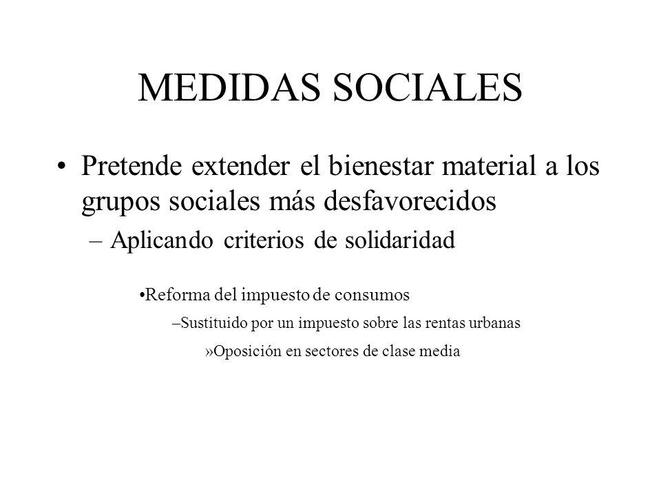 MEDIDAS SOCIALES Pretende extender el bienestar material a los grupos sociales más desfavorecidos –Aplicando criterios de solidaridad Reforma del impu