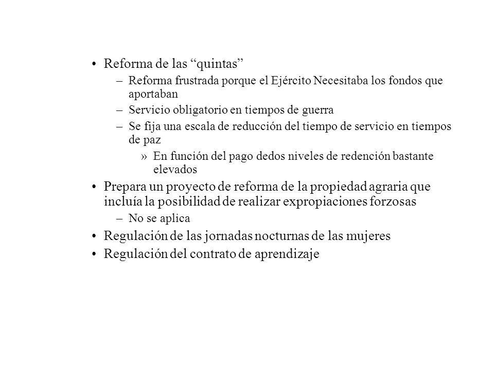 Reforma de las quintas –Reforma frustrada porque el Ejército Necesitaba los fondos que aportaban –Servicio obligatorio en tiempos de guerra –Se fija u