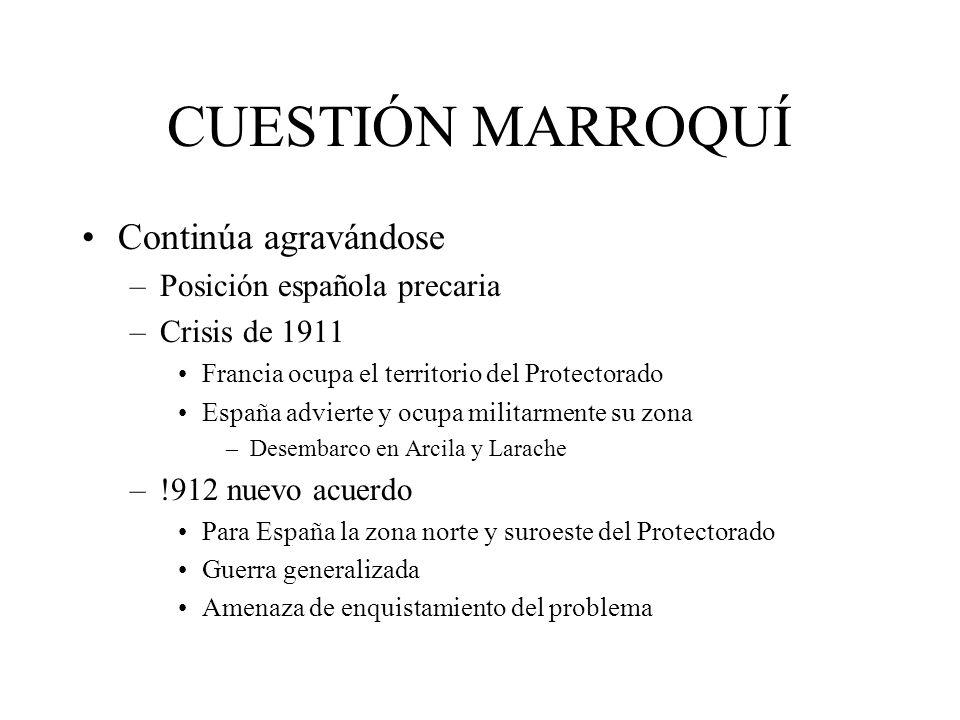 CUESTIÓN MARROQUÍ Continúa agravándose –Posición española precaria –Crisis de 1911 Francia ocupa el territorio del Protectorado España advierte y ocup