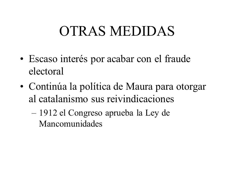 OTRAS MEDIDAS Escaso interés por acabar con el fraude electoral Continúa la política de Maura para otorgar al catalanismo sus reivindicaciones –1912 e