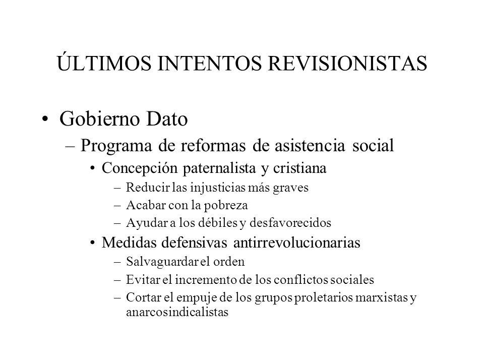 ÚLTIMOS INTENTOS REVISIONISTAS Gobierno Dato –Programa de reformas de asistencia social Concepción paternalista y cristiana –Reducir las injusticias m