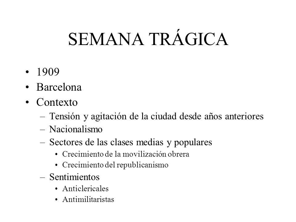 SEMANA TRÁGICA 1909 Barcelona Contexto –Tensión y agitación de la ciudad desde años anteriores –Nacionalismo –Sectores de las clases medias y populare