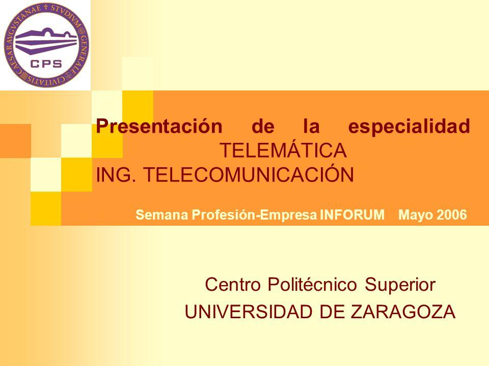 Presentación de la especialidad TELEMÁTICA ING. TELECOMUNICACIÓN Centro Politécnico Superior UNIVERSIDAD DE ZARAGOZA Semana Profesión-Empresa INFORUM