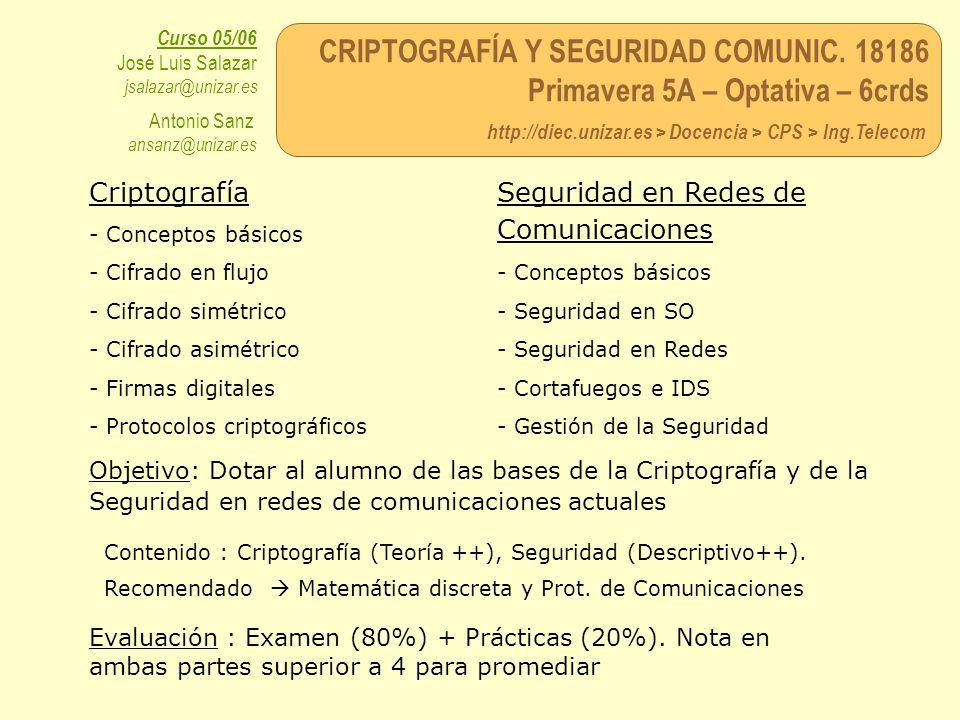 CRIPTOGRAFÍA Y SEGURIDAD COMUNIC. 18186 Primavera 5A – Optativa – 6crds http://diec.unizar.es > Docencia > CPS > Ing.Telecom Curso 05/06 José Luis Sal