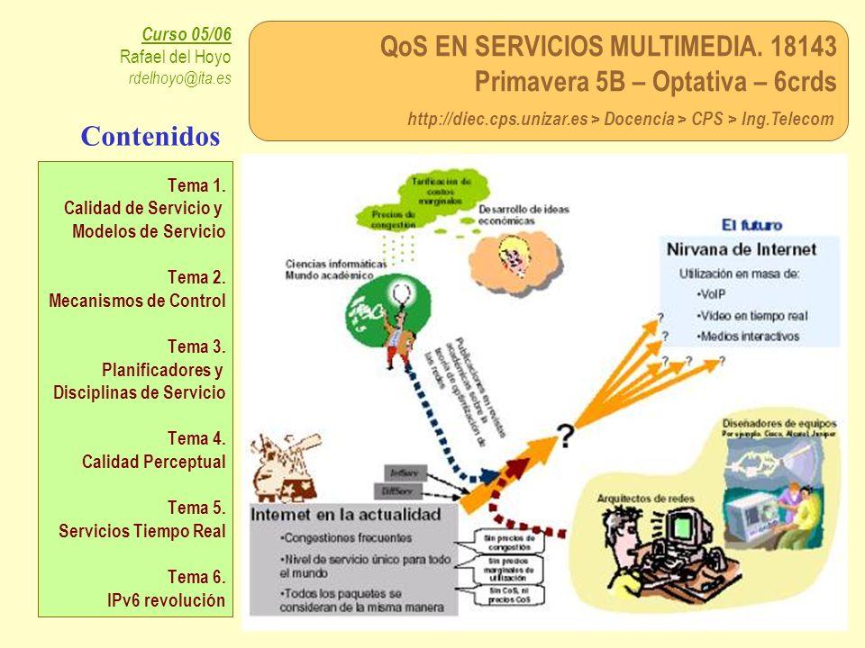 QoS EN SERVICIOS MULTIMEDIA. 18143 Primavera 5B – Optativa – 6crds http://diec.cps.unizar.es > Docencia > CPS > Ing.Telecom Curso 05/06 Rafael del Hoy